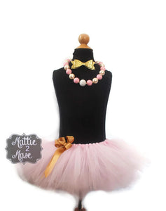 Pink and Gold Cake Smash Tutu And Headband - Mattie and Mase