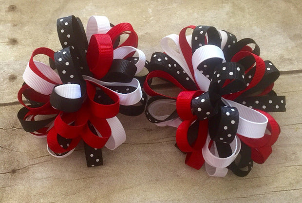 Valentine's Day Hair Accessories, Loopy Bow, Valentine's Day Loopy Bows, Bows for Little Girls, Pigtail Bows, Hairbows for Thick Hair - Mattie and Mase