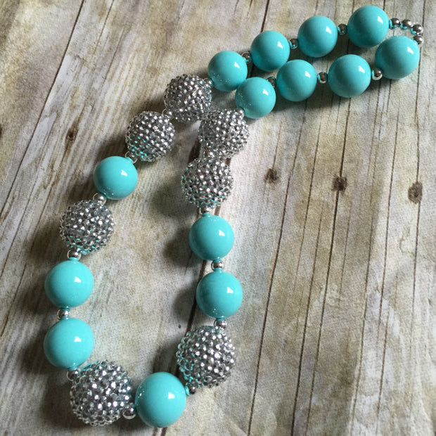Turquois Birthday Necklace, Cake Smash Necklace, Kids Chunky Necklace, Kids Bubblegum Necklace, Cake Smash Prop, Toddler Necklace - Mattie and Mase