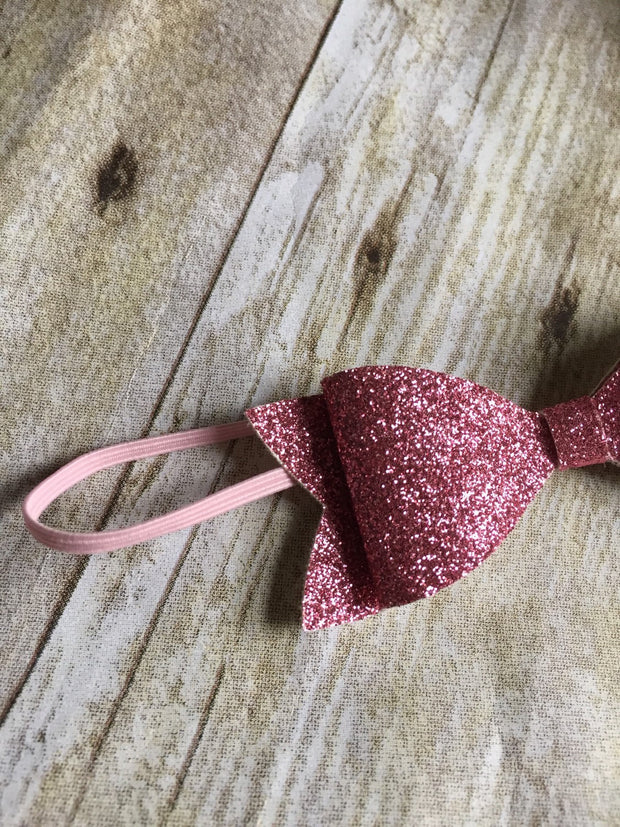 Pink Glitter Bow Headband - Mattie and Mase