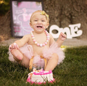 pink and gold cake smash tutu and headband. shop mattieandmase.com