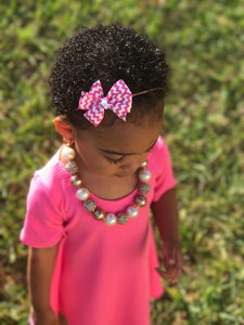 Pink and White Chevron Bow - Mattie and Mase