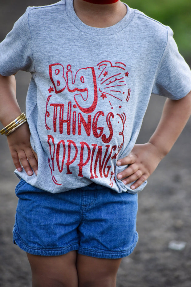Big Things Popping Tee Red Glitter - Mattie and Mase