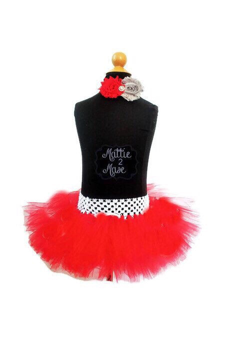 Infant to Toddler Red Polka Dot Tutu and Headband - Mattie and Mase
