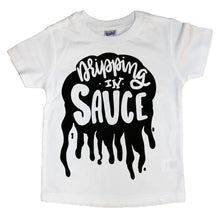 White Shirt with Black Dripping In Sauce Graphic For Kids. Shop Mattieandmase.com