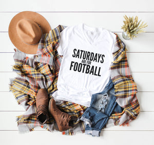 Saturdays Are For Football V-Neck Unisex Tee - Mattie and Mase
