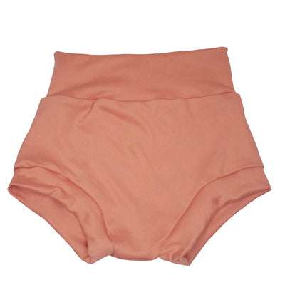 dark peach high waisted bummies for babies and toddlers. sizes 0/3M to 3/4T available