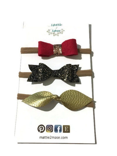 Holiday Bow Set 2 - Mattie and Mase
