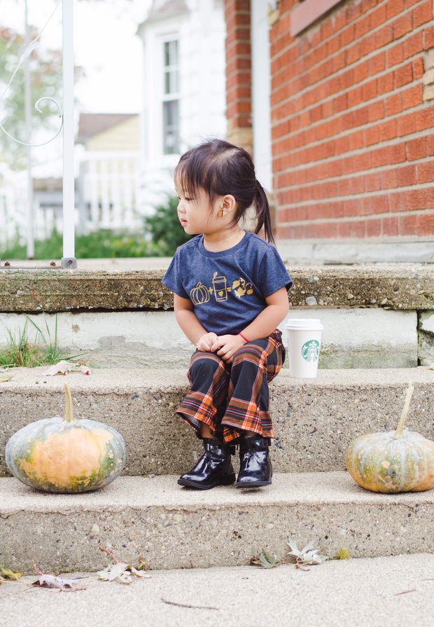 Pumpkin and hot cocoa fall tee for kids. shop mattieandmase.com