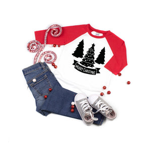 Merry Christmas Tree Kids Raglan