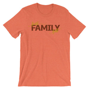 Faith Family Fall Unisex short sleeve t-shirt - Mattie and Mase