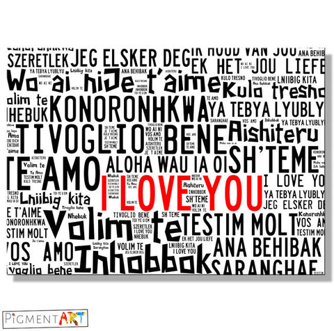I Love You in Many Languages - LOV0016 - canvas wall art prints uk