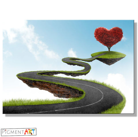 Road to Tree Heart - LOV0015 - canvas wall art prints uk