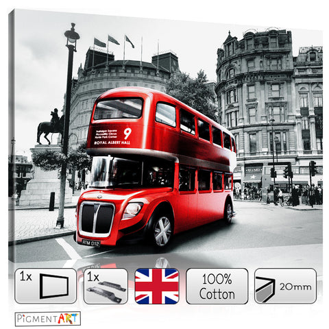 Red Bus in Trafalgar Square - CIT0048 - canvas wall art prints uk