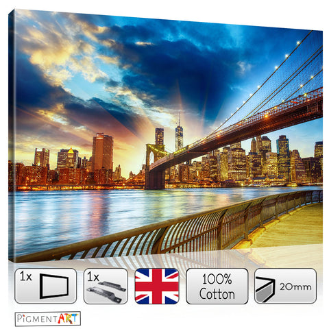 Brooklyn Bridge Blue Background Canvas - canvas wall art prints uk