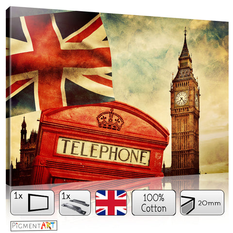 London UK Flag Symbols Modern Canvas - canvas wall art prints uk