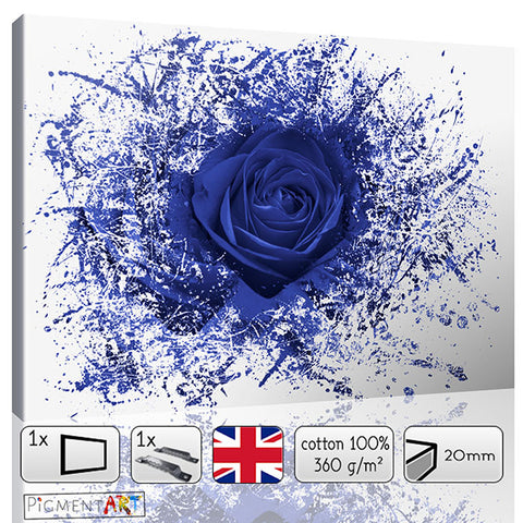 Abstract Blue Rose - FLO0068c - canvas wall art prints uk