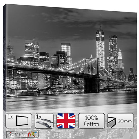 Brookling Bridge at Night - BW0019 - canvas wall art prints uk