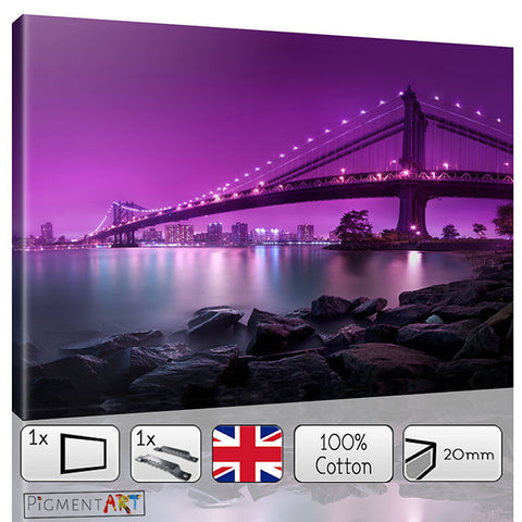 Manhattan Bridge Purple Background Modern Canvas - canvas wall art prints uk