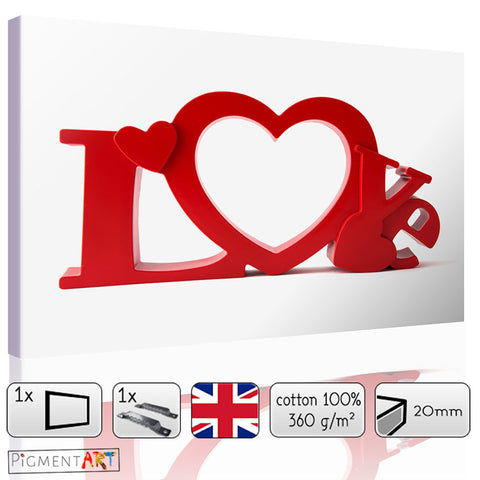 Love with Hearts - LOV0018 - canvas wall art prints uk