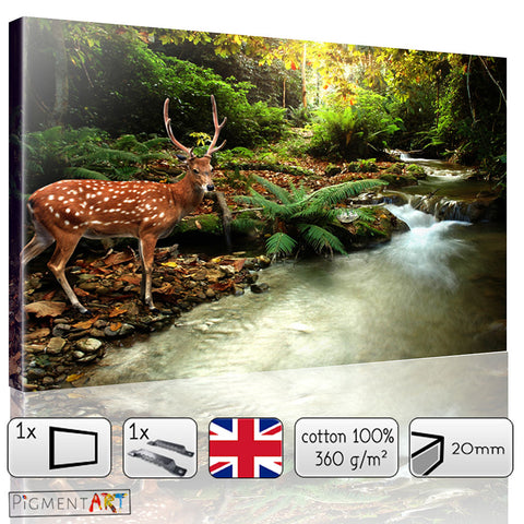 Deer In The Green Forest Canvas - canvas wall art prints uk