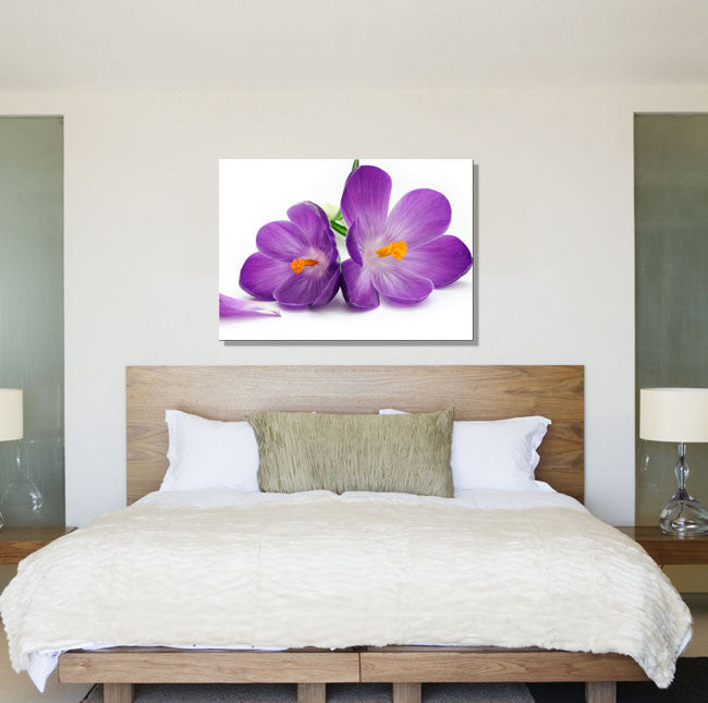 Purple Flowers White Background Canvas - canvas wall art prints uk