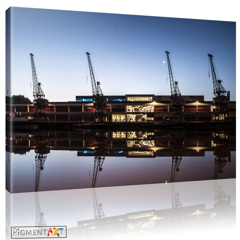 Bristol UK Harbourside Cranes Canvas - canvas wall art prints uk