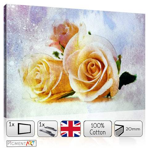 Peach Roses - FLO0093 - canvas wall art prints uk