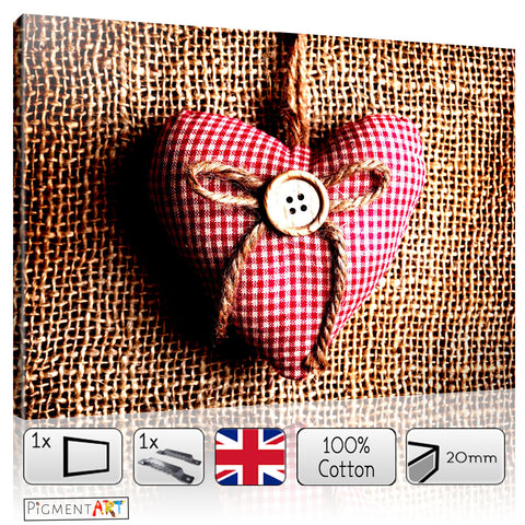 Fabric Romantic Heart - LOV0051 - canvas wall art prints uk