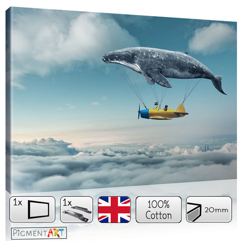 Whale With Plane On Clouds Surrealist Canvas - canvas wall art prints uk