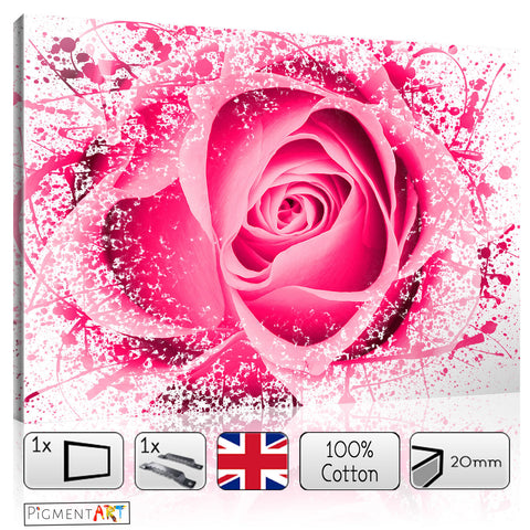 Abstract Pink Rose - FLO0111A - canvas wall art prints uk