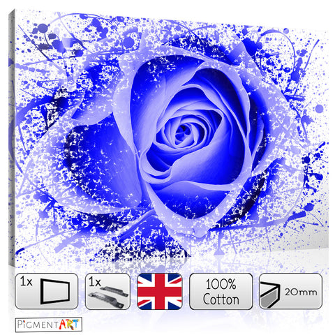 Abstract Blue Rose - FLO0111C - canvas wall art prints uk
