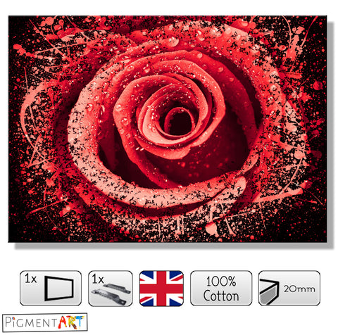 Dew on a Red Rose Abstract - FLO0098 - canvas wall art prints uk