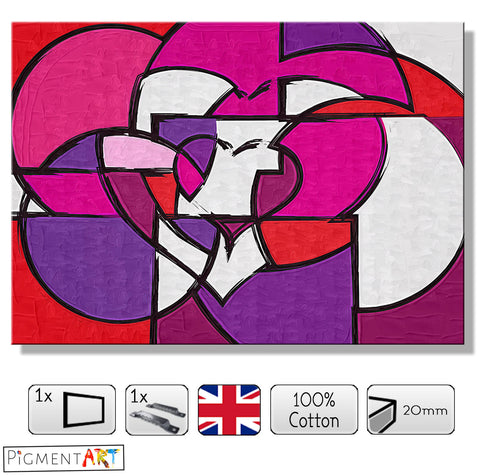 Cubist Heart - LOV0045 - canvas wall art prints uk