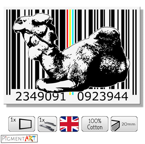 Black and White Dromedary Code - BW0024 - canvas wall art prints uk