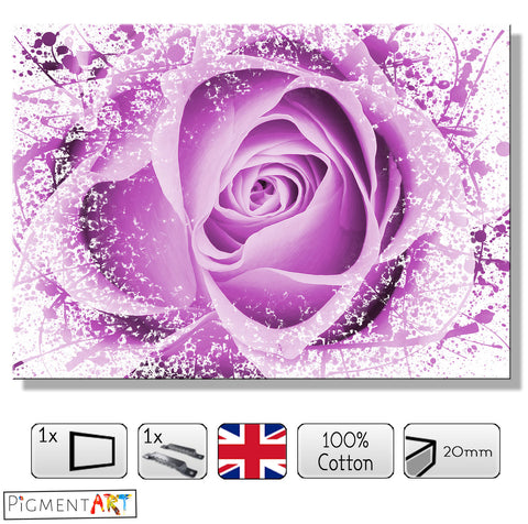 Abstract Violet Rose - FLO0111B - canvas wall art prints uk