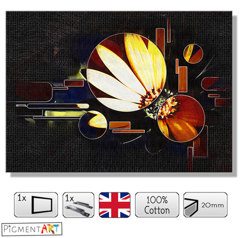 Abstract Geometry and Flower - ABS0174 - canvas wall art prints uk