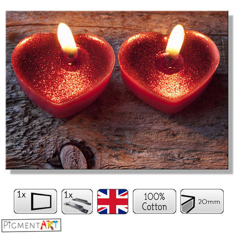 Romantic Candle Hearts - LOV0048 - canvas wall art prints uk