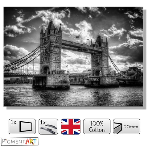 London Tower Bridge - BW0026 - canvas wall art prints uk