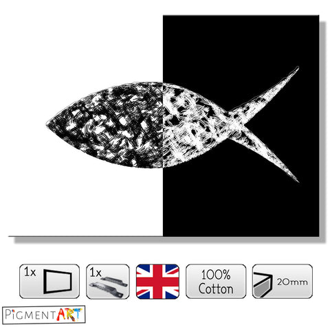 Black and White Abstract Fish Canvas - canvas wall art prints uk
