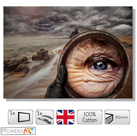 Eye Mirror On The Beach Surrealist Canvas - canvas wall art prints uk