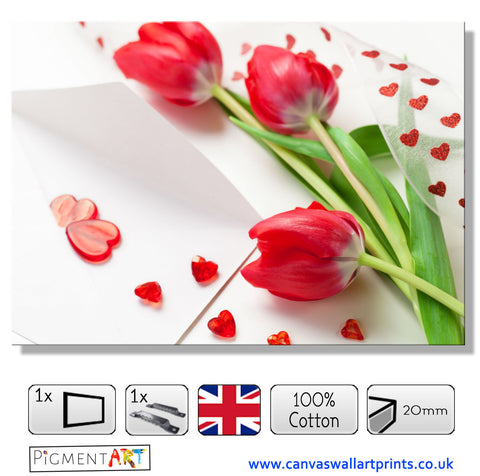 Hearts and Flowers - LOV0050 - canvas wall art prints uk