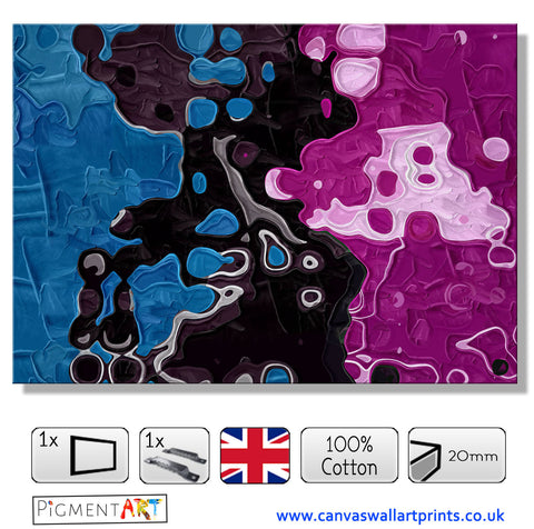 Blue Black and Violet Fantasy - ABS0172 - canvas wall art prints uk