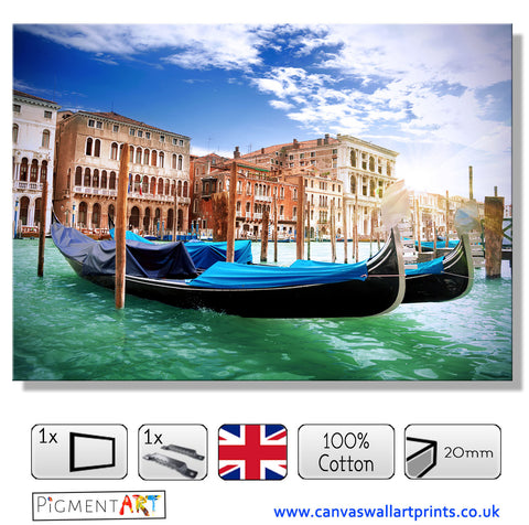 Italy Venetian Gondola Canvas - canvas wall art prints uk