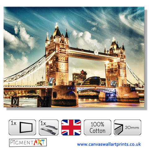 London Bridge Blue Sky Canvas - canvas wall art prints uk