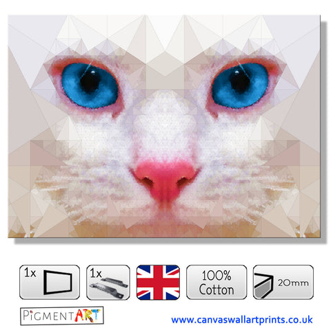 White Cat Face Polygons Modern Canvas - canvas wall art prints uk