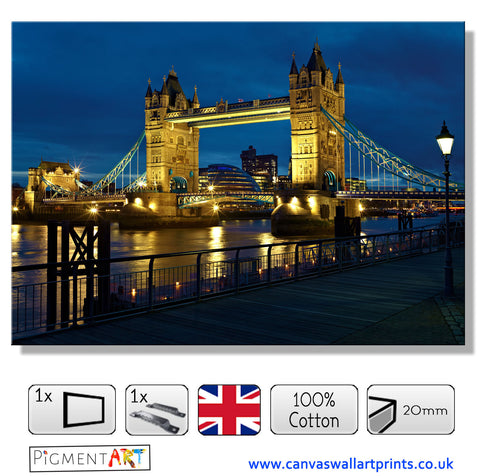 Night London Bridge Canvas - canvas wall art prints uk