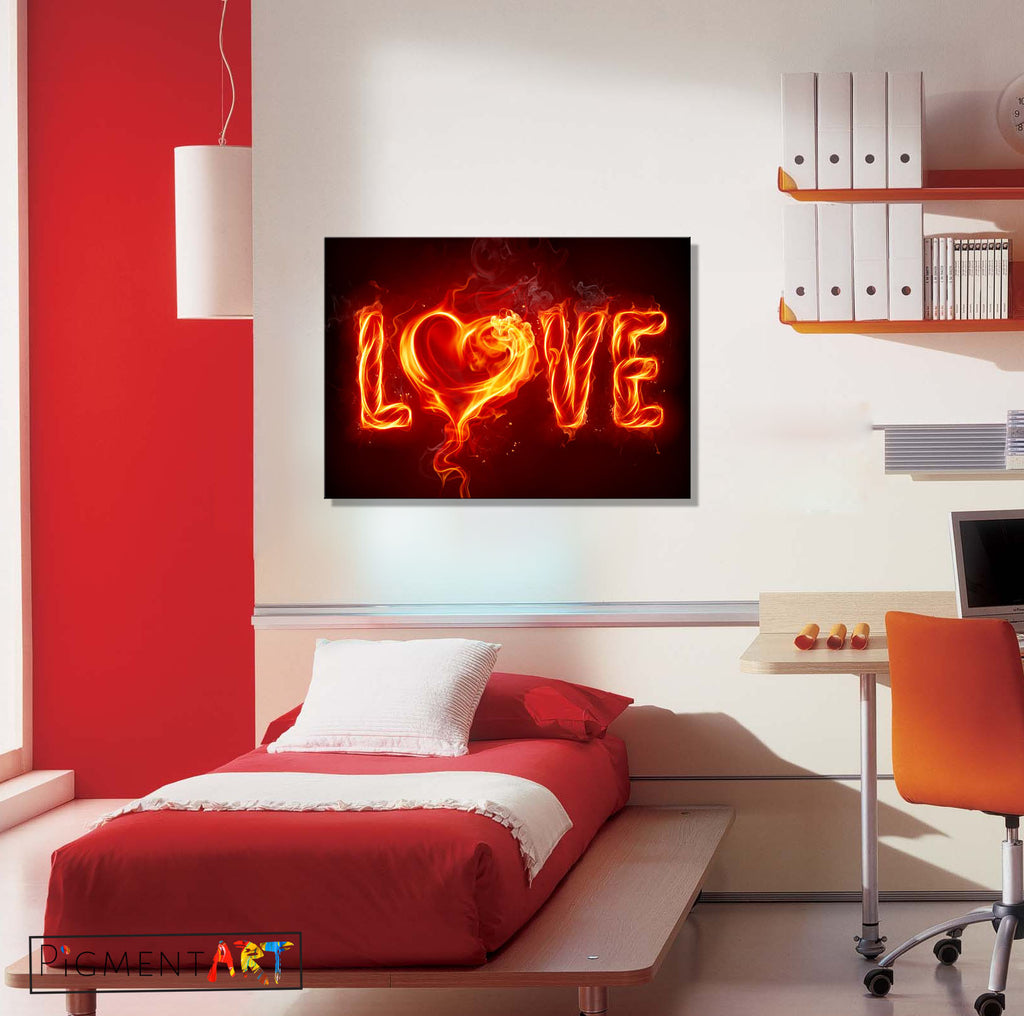 Burning Love - LOV0049 - canvas wall art prints uk