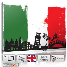 Italian Flag - FLG0006 - canvas wall art prints uk