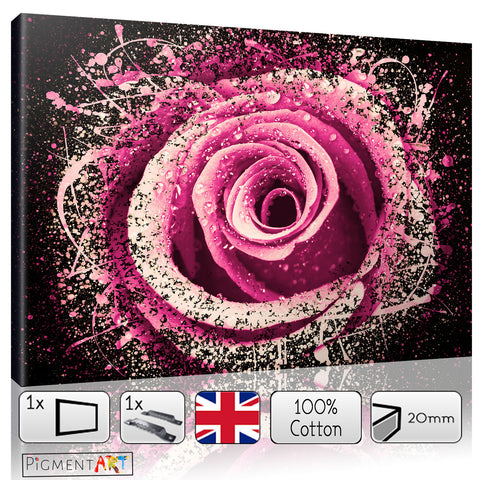 Dew on a Pink Rose Abstract - FLO0099 - canvas wall art prints uk